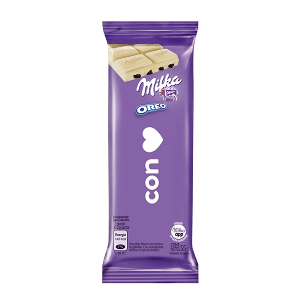 CHOCOLATE MILKA OREO BLANCO 55GR