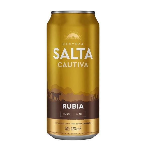 CERVEZA SALTA CAUTIVA RUBIA LATA 473CC