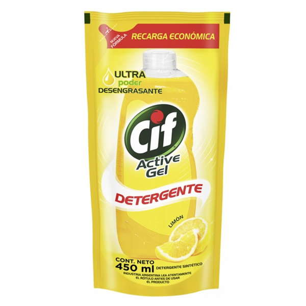 LAV CIF ACTIVE GEL LIMON POUCH 450CC