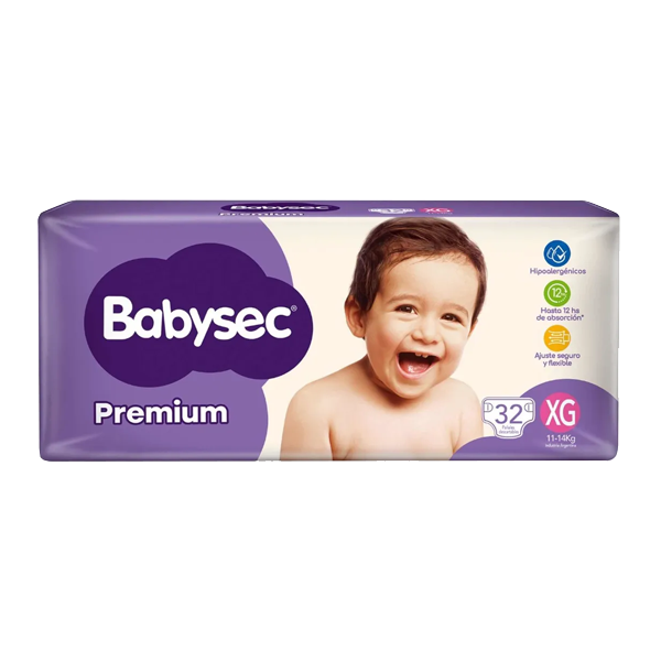 PAÑAL BABYSEC PREMIUM HIPER XG 32U
